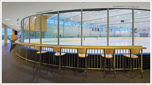 Windows around skating rink